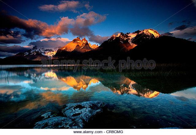 Paine-Massivs, Torres del Paine Nationalpark-Chile Stockbild