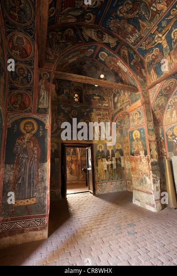 900-Jahr-alten Wandmalereien in der griechisch-orthodoxen Kirche Panagia Phorbiotissa, UNESCO World Heritage Kirche Stockbild