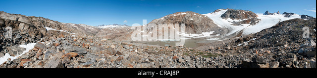 Am Mittivakkat Gletscher, Ammassalik Halbinsel, Ostgrönland Stockbild