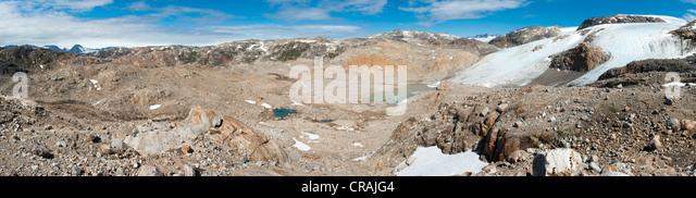 Mittivakkat Gletscher, Ammassalik Halbinsel, Ostgrönland, Grönland Stockbild
