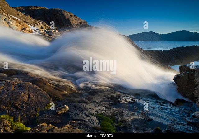 Wasserfall, Ammassalik Halbinsel, Beginn des Sermilik Fjord, Ostgrönland, Grönland Stockbild