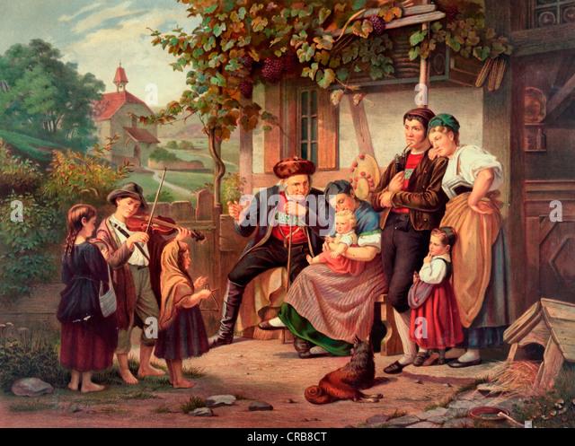 Ein Happy Home eine Einsamkeit - Vintage Print des Familienlebens auf einem Bauernhof circa.1870 Stockbild