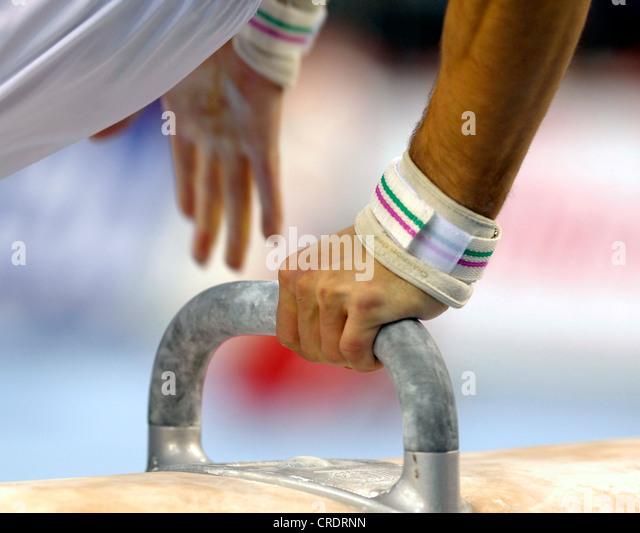 Künstlerische Gymnastik; Pauschenpferd Stockbild