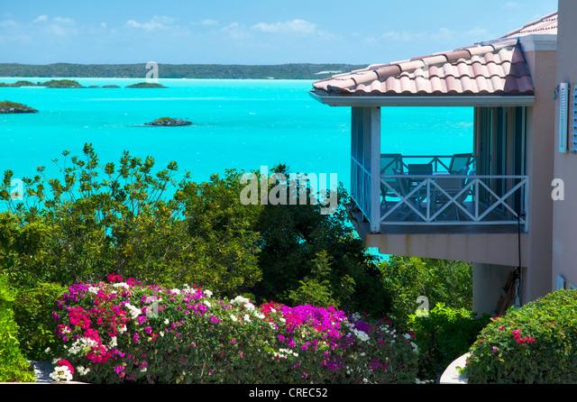 Haus auf Kreide Sound. Providenciales. Turks- und Caicosinseln Stockbild