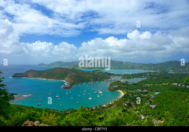 Moorea Insel; Leeward Inseln; Shirley Heights; English Harbour; Falmouth Harbour, Antigua und Barbuda, Karibik Stockbild