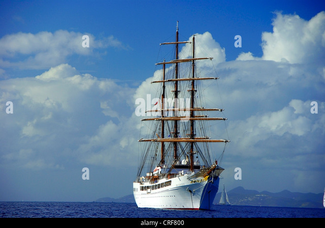 Sea Cloud II, Franzoesiche Antillen, Karibik, Saint Barthelemy Stockbild