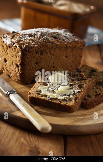 Bara Brith Welsh Obst Brot traditionelle Speisen UK Stockbild