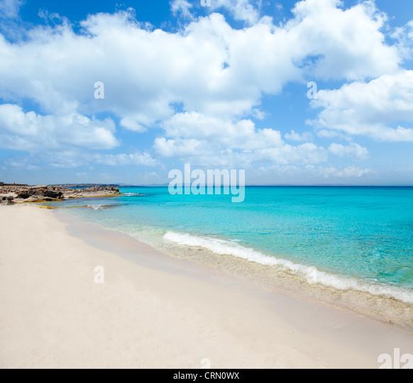 Balearischen Formentera Escalo Strand weißen Sand und das türkisfarbenen Wasser Stockbild