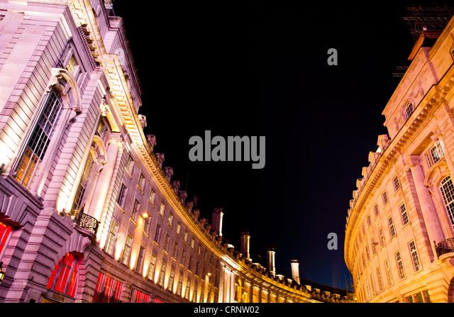 Detail der Gebäude in der Regent Street Piccadilly Circus im Londoner West End. Stockbild