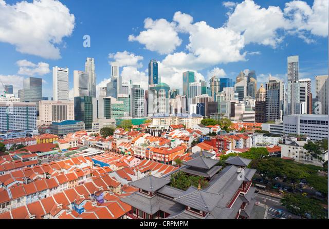 Erhöhten Blick über traditionelle Häuser in Chinatown, Singapur, Südostasien, Asien Stockbild