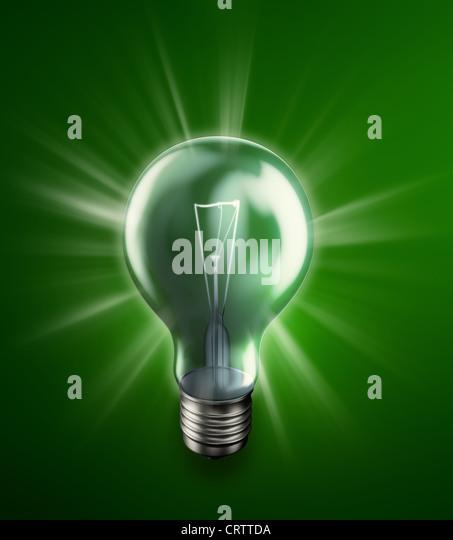 Leuchtende Glühbirne-Energie-Konzept-Abbildung Stockbild