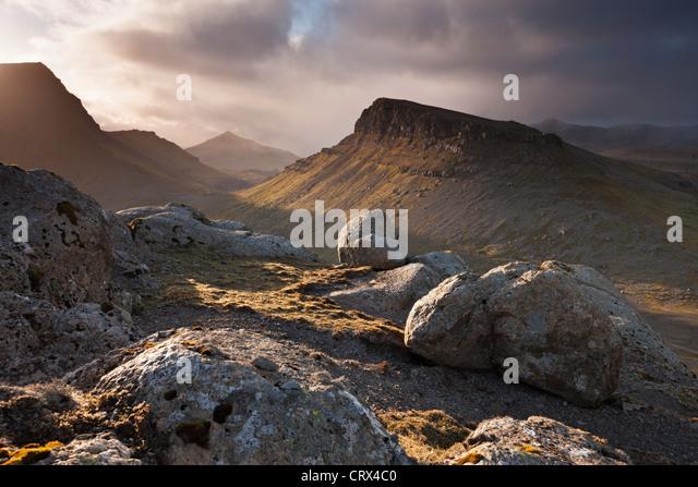 Gebirgige Landesinnere der Insel Streymoy, eines der Färöer Inseln. (Juni) Frühjahr 2012. Stockbild