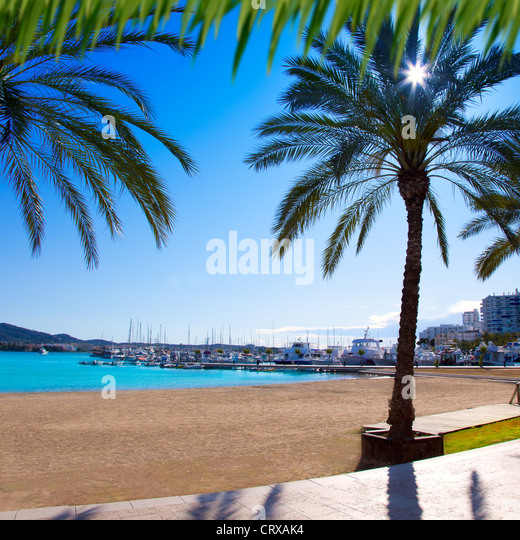 Ibiza-Sant Antoni de Portmany Abad Strand mit Palmen Stockbild