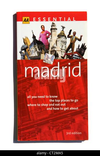 Ein wesentlicher AA travel Guide Madrid in Spanien. Stockbild