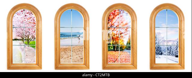 Runde Fenster oben mit Blick auf Frühling, Sommer, Herbst und winter Stockbild