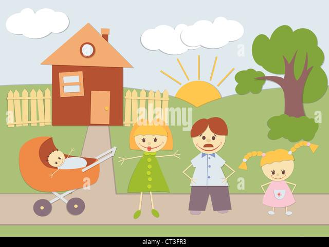 Baby Applique Familienhintergrund zu Hause. Stockbild