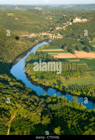 Luftbild von der Dordogne Fluss und die umliegende Landschaft in der Nähe von Sarlat in der Dordogne-Perigord Stockbild