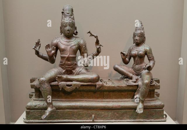 Shiva und Uma Bronze-Skulptur - Südindien, 14. Jahrhundert Stockbild