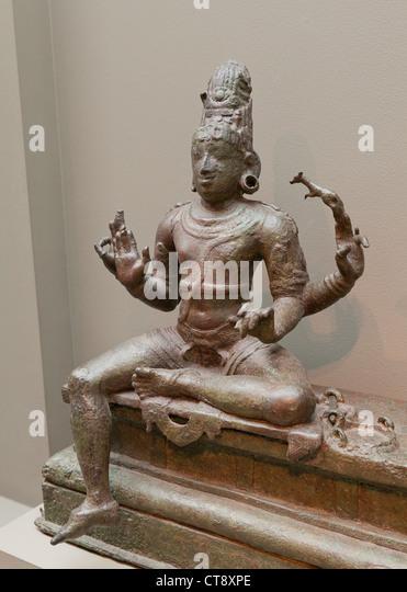 Shiva Bronze Skulptur - Südindien, 14. Jahrhundert Stockbild