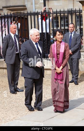 Birmanische Oppositionsführerin Aung San Suu Kyi besucht Oxford University im Rahmen ihrer UK-Tour. Stockbild