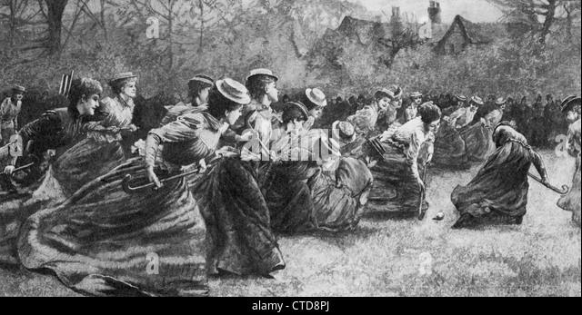 Frauen Eishockey im späten 19. Jahrhundert Stockbild