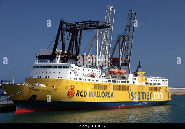 Isabel del Fähre Mar, spanische Ro-Ro, Passagier- und aufgelegt in Barcelona, Spanien Stockbild