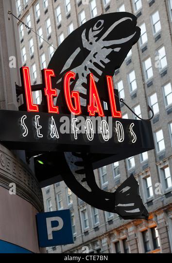 Legal Seafoods Restaurant Neon Sign, Boston, Massachusetts Stockbild