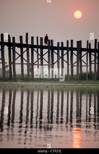 U-Bein Brücke in Amarapura, Myanmar Stockbild
