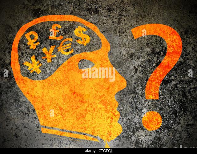 Wirtschaft Verwirrung Konzept orange auf schwarz Abbildung Stockbild