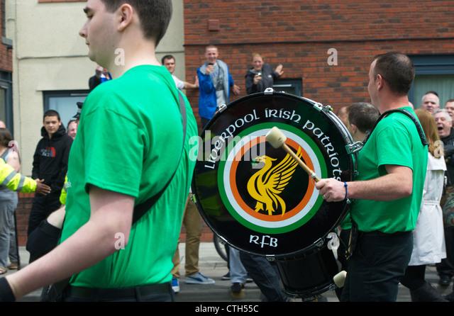 Liverpool irischen Patrioten Republican Flute Band, führen der James Larkin Society of Liverpool März, Stockbild