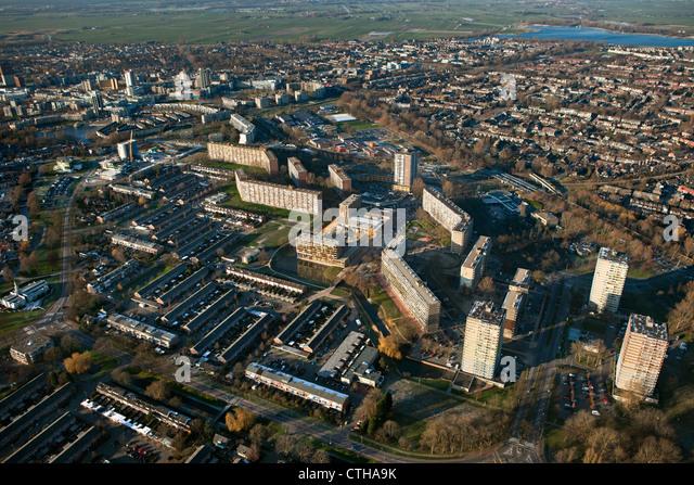Die Stadt der Niederlande, Zoetermeer. Luft. Mehrfamilienhäuser. Stockbild