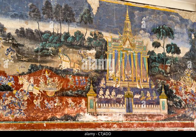 Königspalast, Wandmalerei, Phnom Penh, Kambodscha Stockbild