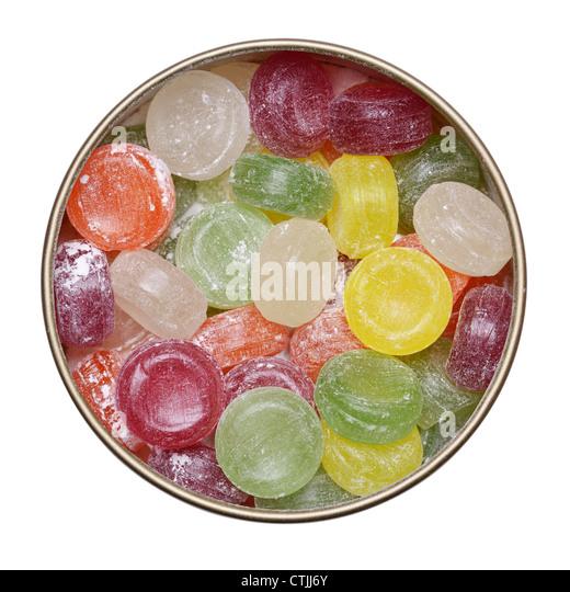 Dose mit Reisen Süßigkeiten Stockbild