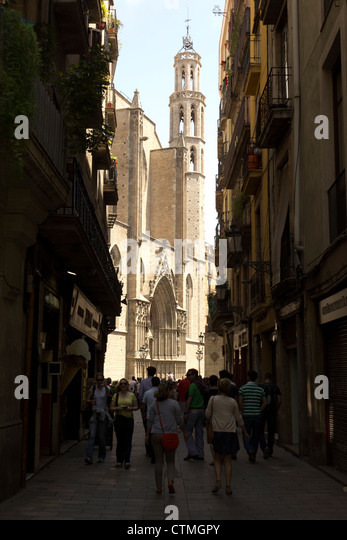 Barcelona, Spanien. Kirche Santa Maria del Mar. Stockbild
