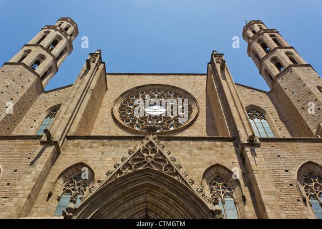 Barcelona, Spanien. Kirche Santa Maria del Mar. Detail der Fassade. Stockbild