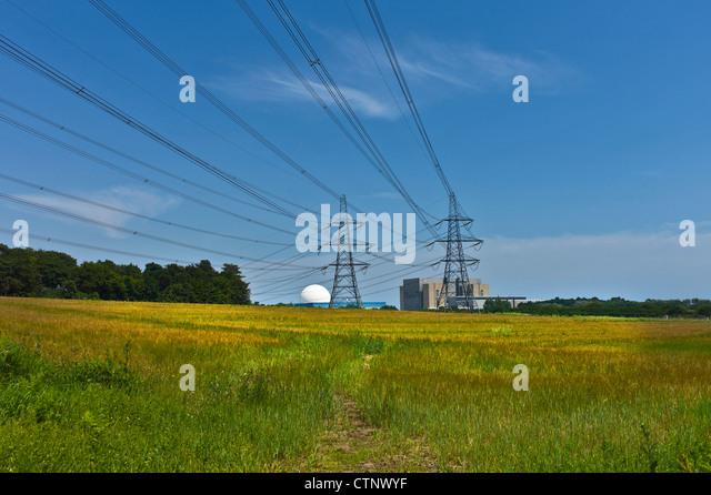 Stromkabel von Sizewell Kernkraftwerke Stockbild