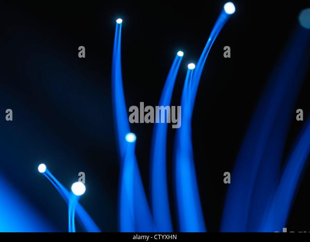 Nahaufnahme von LWL-Kabel Stockbild