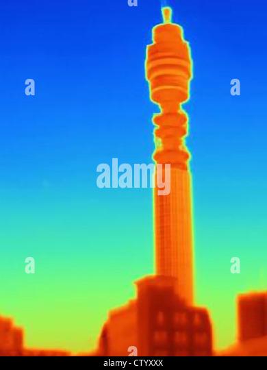 Wärmebild eines BT Tower Stockbild