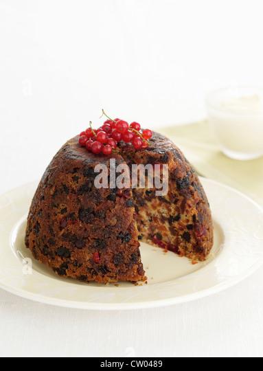Teller mit Christmas pudding Stockbild