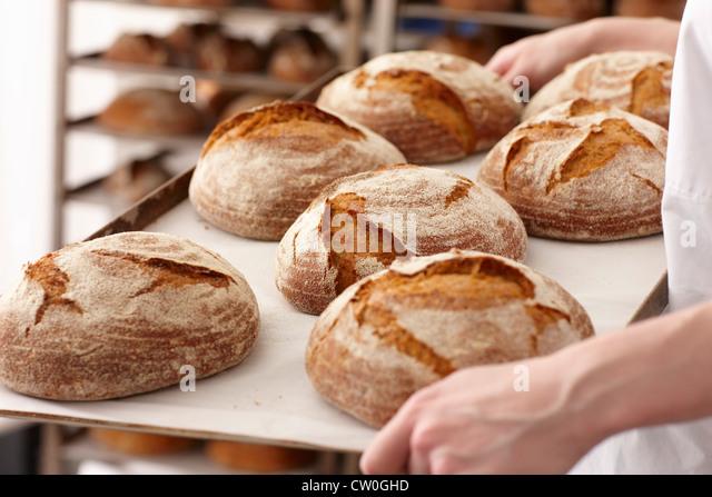 Koch mit Tablett Brot in Küche - Stock-Bilder
