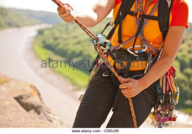 Bergsteiger Karabiner und Bungee-Seil Stockbild