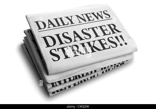 Katastrophenfall täglich Schlagzeile Stockbild