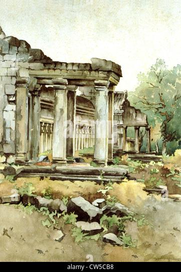 Courmaille, Angkor, Aquarell Stockbild