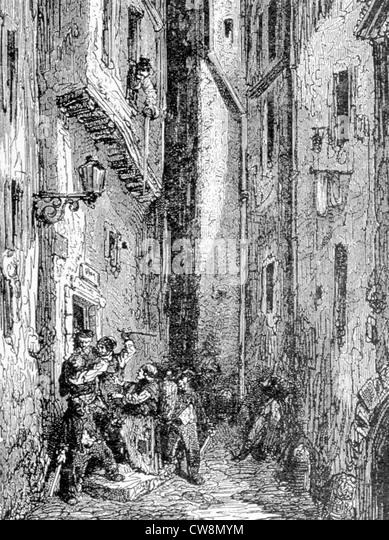 Illustration für den Leitfaden für den Ausländer, von Gustave Doré Stockbild