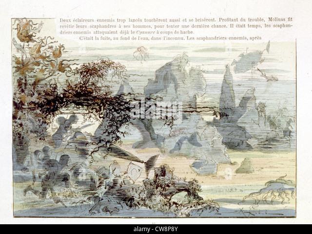 Krieg im 20. Jahrhundert, Illustration von Robida Stockbild