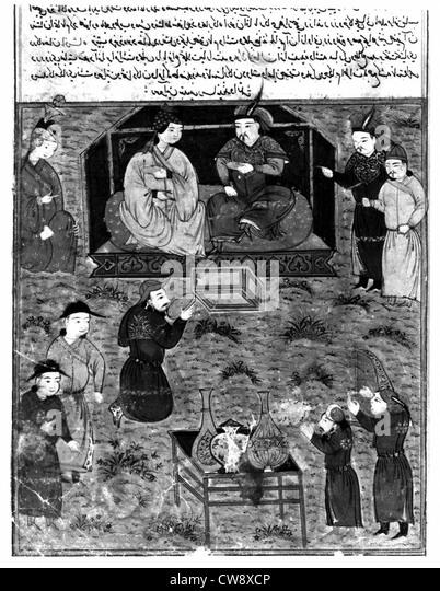 Persische Handschrift mit 106 Gemälden geschmückt Stockbild