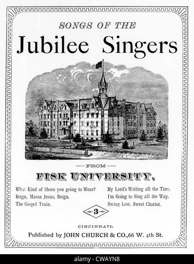 Songs von der Jubilee Singers an der Fisk University, Noten, ca. 1800 s. Stockbild