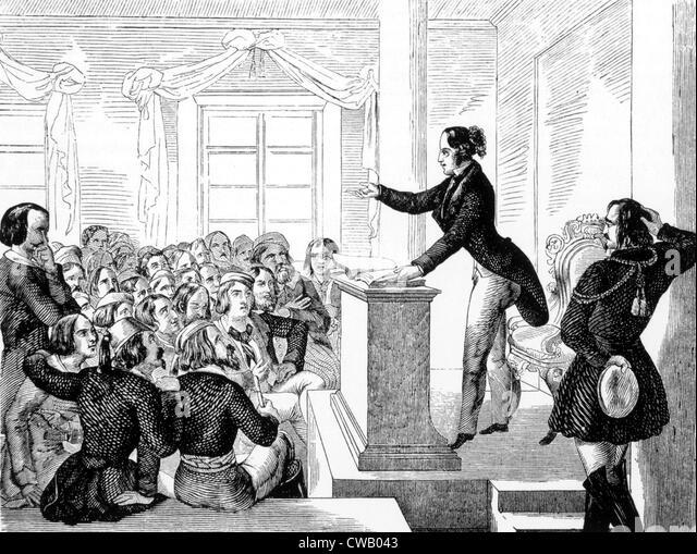 Eine Professorin in der männlichen Kleidung. Illustration aus dem Nürnberger Trichter, 1848. Stockbild
