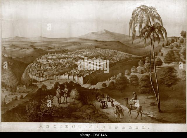 Alten Jerusalem vor der Zerstörung durch Titus, Gemälde von James Fuller Königin, 1852. Stockbild