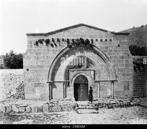 Das Grab der Jungfrau Maria und die Höhle der Agonie, Jerusalem, Israel, circa Ende 1800 s. Stockbild